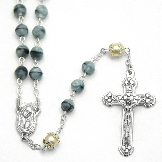 Grey Swirl 6mm Glass Bead Rosary - 18""