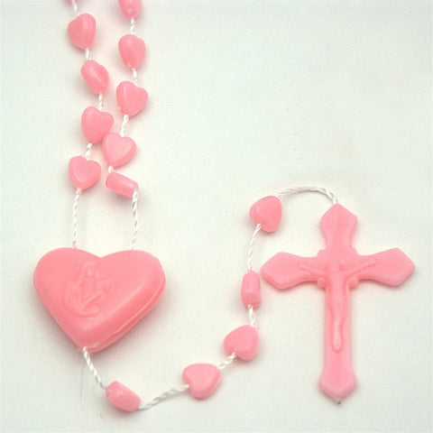 Pink Heart Plastic Rosary