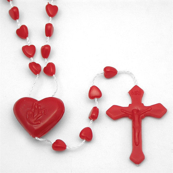 Red Heart Plastic Rosary