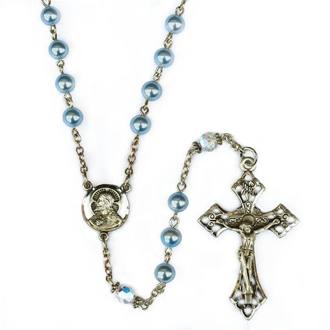 Powder Blue Pearl & Swarovski Crystal Rosary