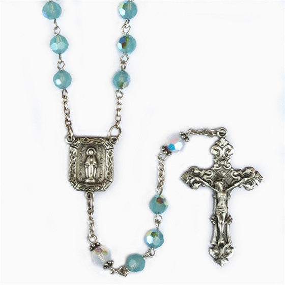 Pacific Opal & Swarovski Crystal Sterling Silver Rosary