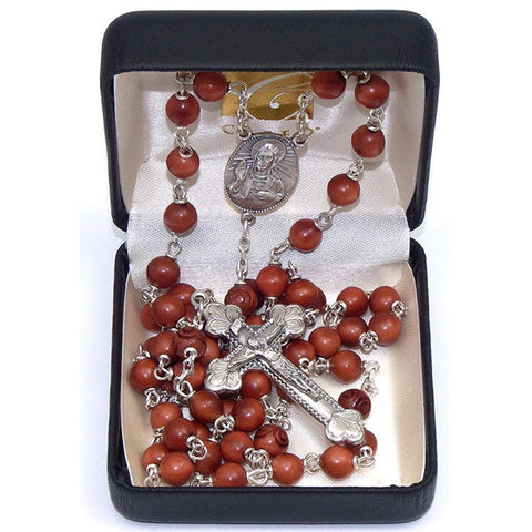 Brown Cocoa Bead Rosary