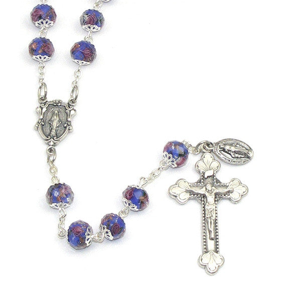 Sapphire Glass Bead Rosary