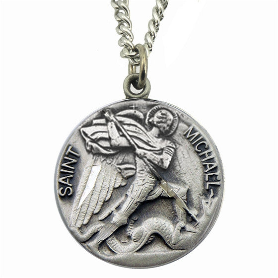 St michael sterling medal mary immaculate queen center st michael sterling medal mozeypictures Choice Image