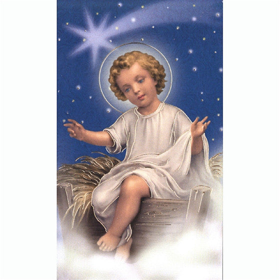 baby jesus seated holy card mary immaculate queen center