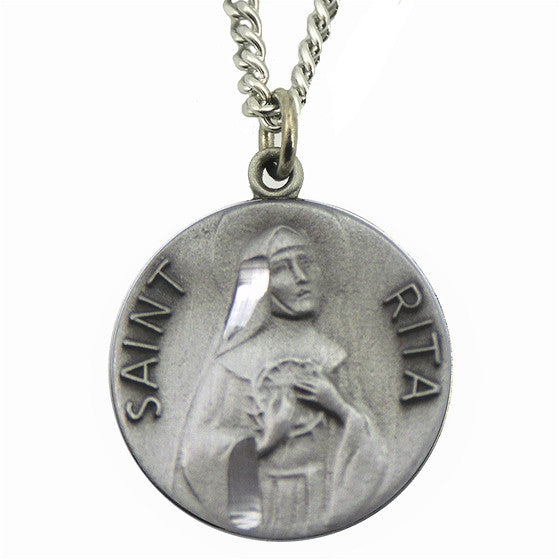 St. Rita Pewter Medal with Chain
