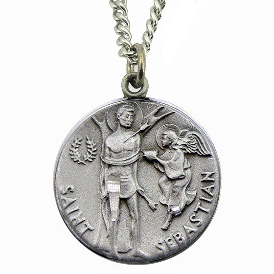 St sebastian pewter medal with chain mary immaculate queen center st sebastian pewter medal with chain aloadofball Images