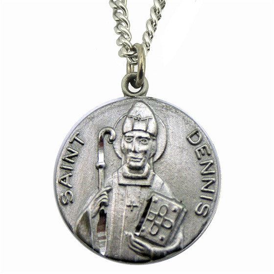 St. Dennis Pewter Medal with Chain