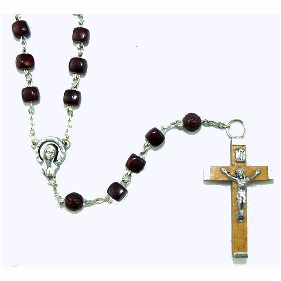Square Brown Cocoa Bead Rosary