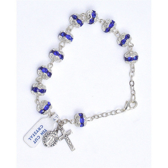 Sapphire Crystal Rosary Bracelet