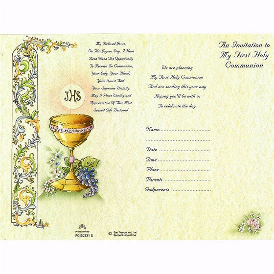 Generic First Communion Invitation