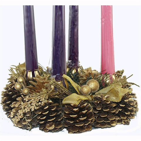 Advent Wreath with Gold Accents