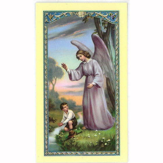 Laminated Guardian Angel Holy Card