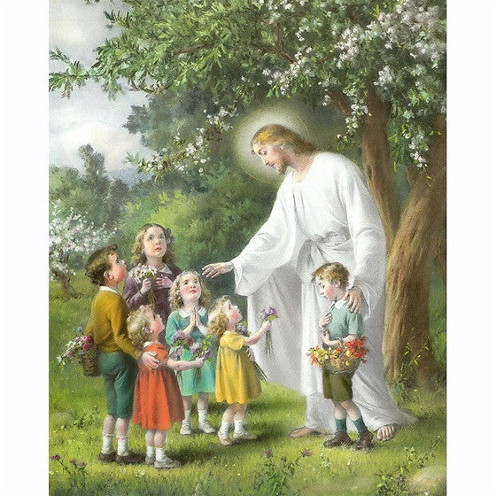 8x10 Jesus with Children