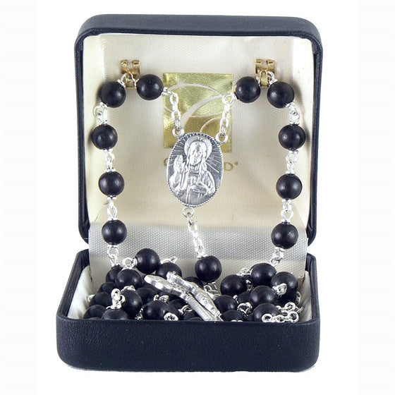 Men's Black Cocoa Bead Rosary