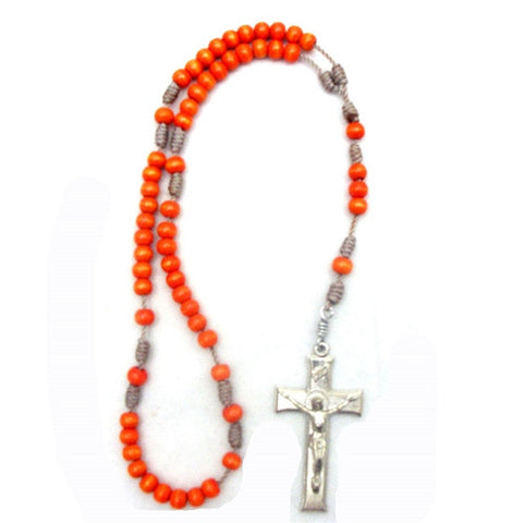 Orange Wood Bead Rosary