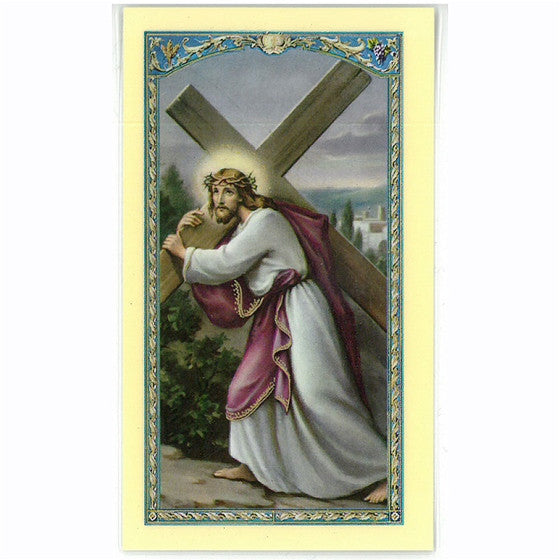 Christ Carrying Cross Holy Card
