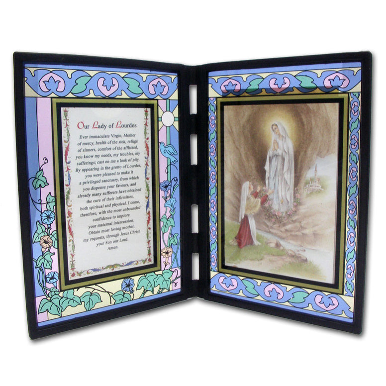 Our Lady of Lourdes Stained Glass Plaque