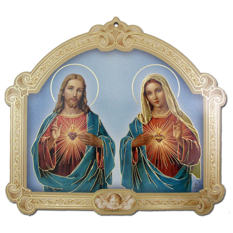 Sacred & Immaculate Hearts Plaque: 9""