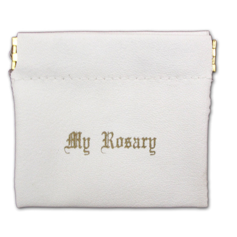 Spring Closure Rosary Case: White