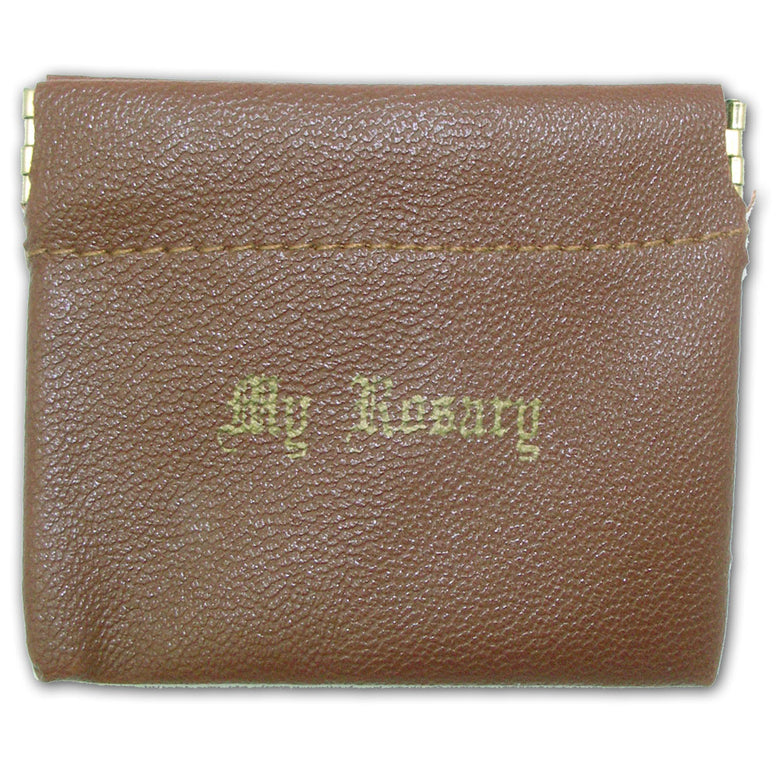 Spring Closure Rosary Case: Brown