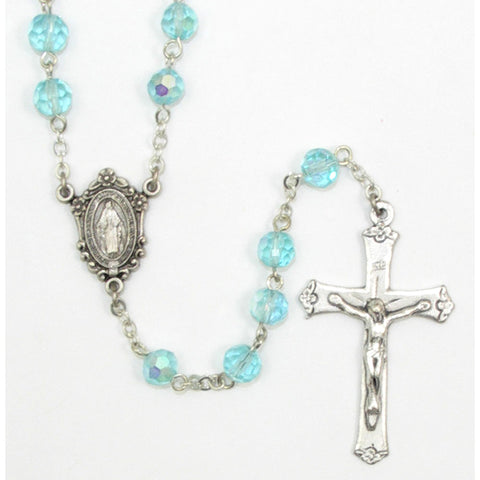 Aqua Crystal Rosary: 7mm