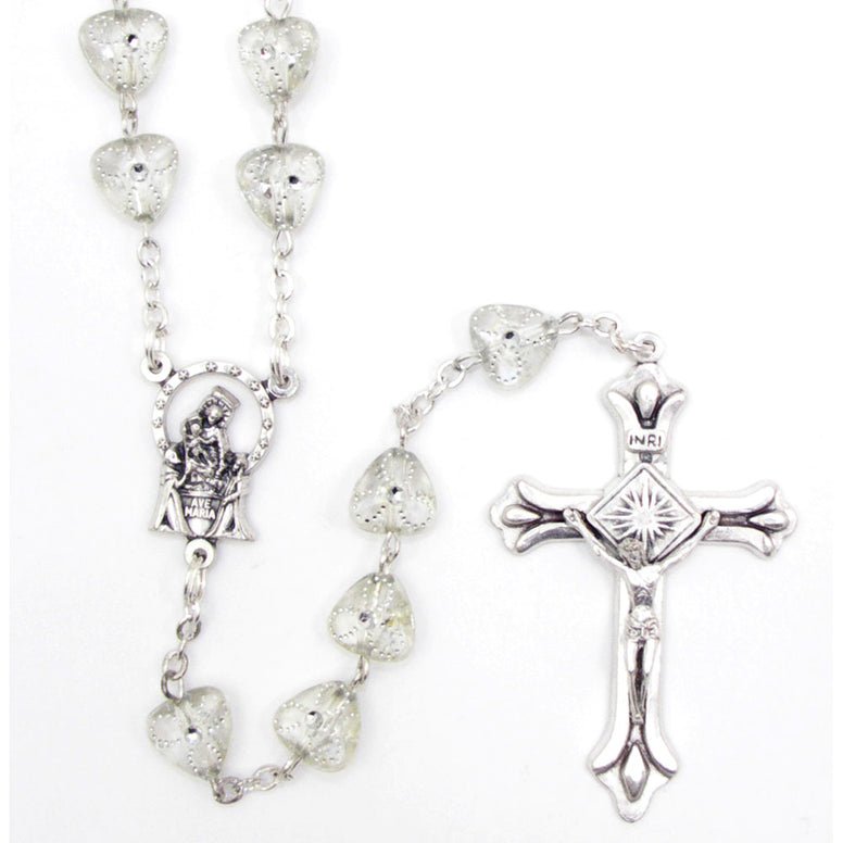 Crystal Heart Shaped Rosary