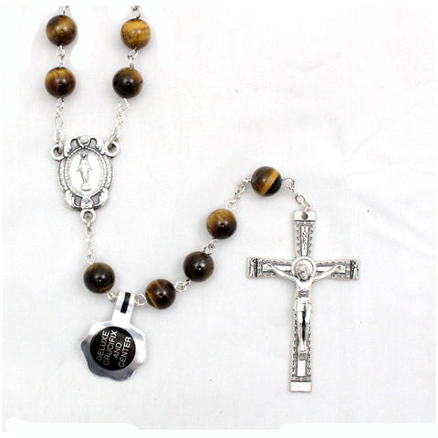 Genuine Tiger Eye Rosary: 8 mm