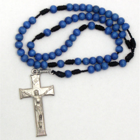 Blue Wood Cord Rosary: Metal Crucifix