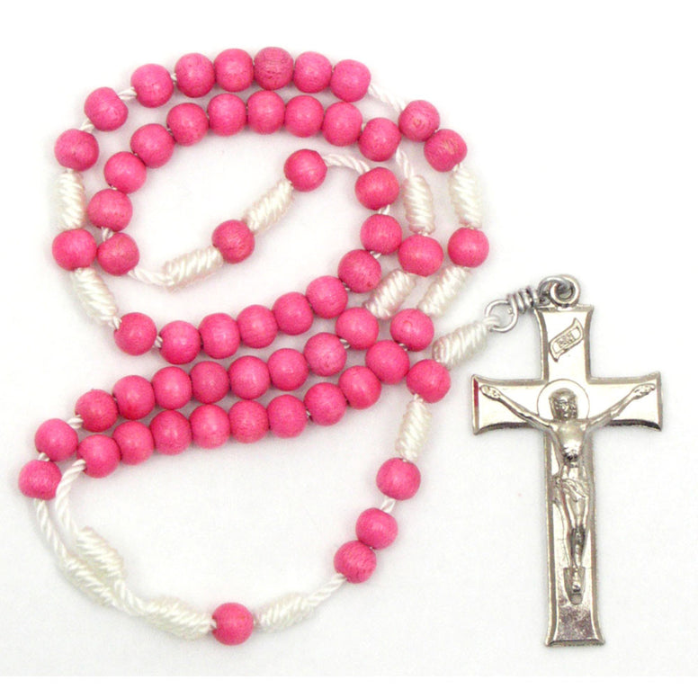 Pink Wood Corded Rosary