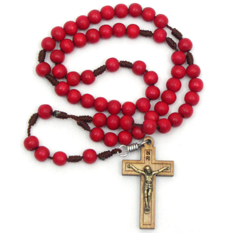 Red Wood Cord Rosary