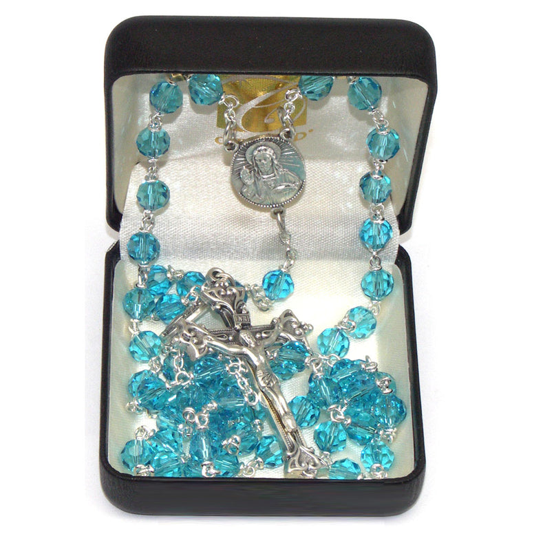 Vienna Collection Rosary: Aqua 7 mm