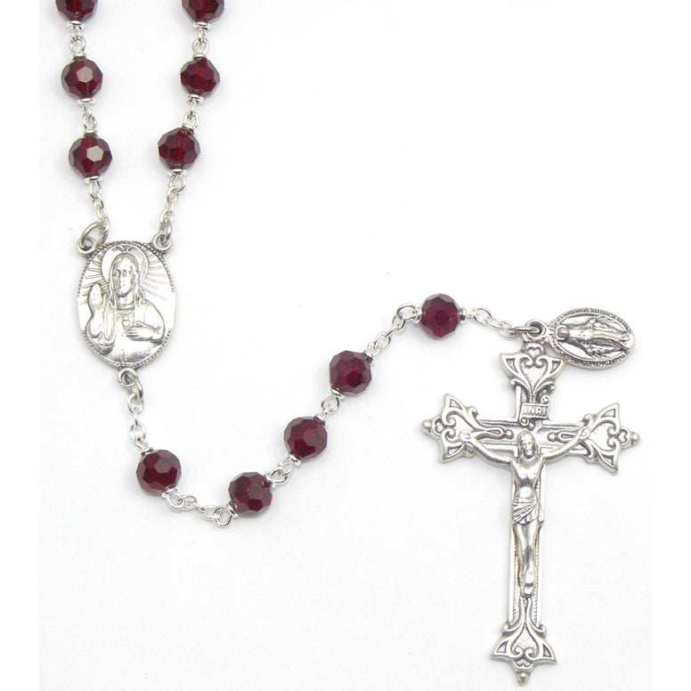 Vienna Collection Rosary: Ruby 7mm