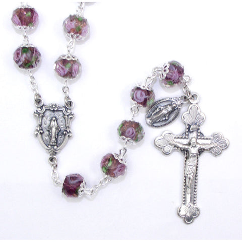 Amethyst Hand-Painted Glass Rosary