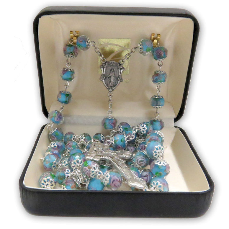 Aqua Hand-painted Glass Rosary