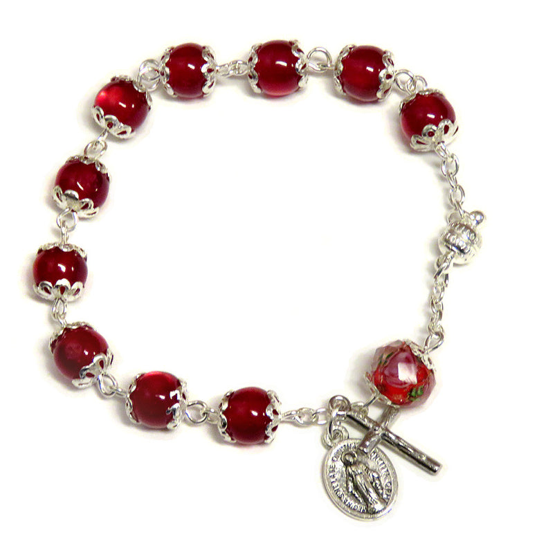 Red Cat's Eye Rosary Bracelet