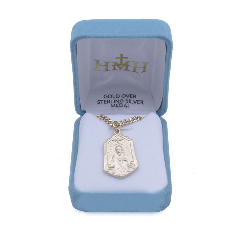 "Gold Plated Scapular Medal: 24"" chain"