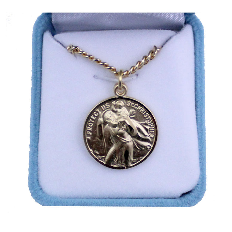 "Gold Plated Ss. Christopher & Raphael Medal: 24"" chain"