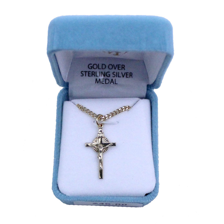 "Gold Plated Crucifix: 18"" chain"