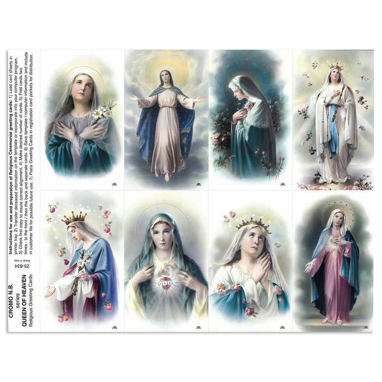 Queen of Heaven Holy Card Sheets
