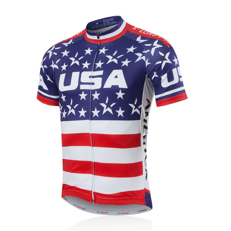 Mens Bike Jersey Short Sleeve Sportwear Cycling Shirt Top Summer USA Star CC6106