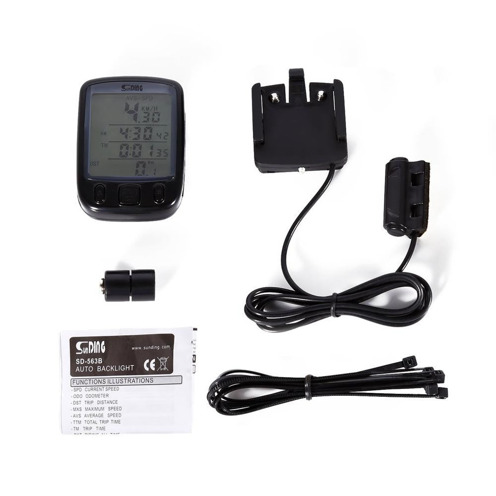 SD 563B Waterproof LCD Display Cycling Computer Odometer Speedometer with Green Backlight
