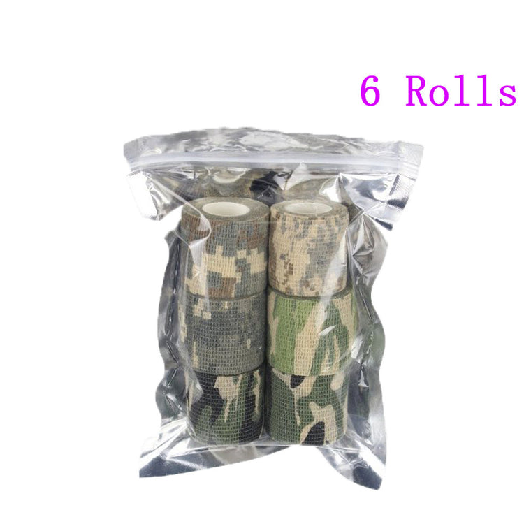6 Rolls Self-adhesive Non-woven 5cmx4.5m Camouflage Wrap Cycling Tape Waterproof