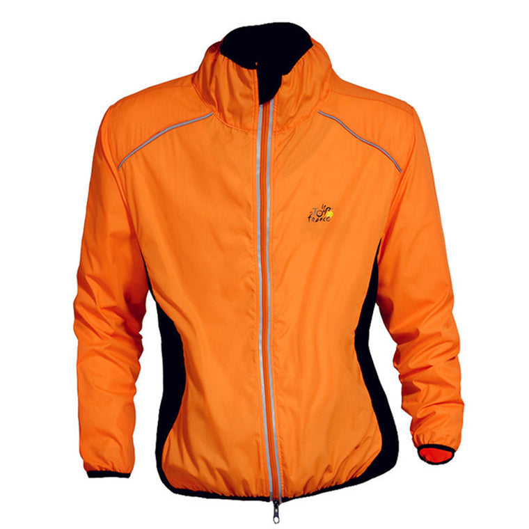 New Mens Cycling Coat Windproof Long Sleeve Jersey Waterproof Jacket, Orange.