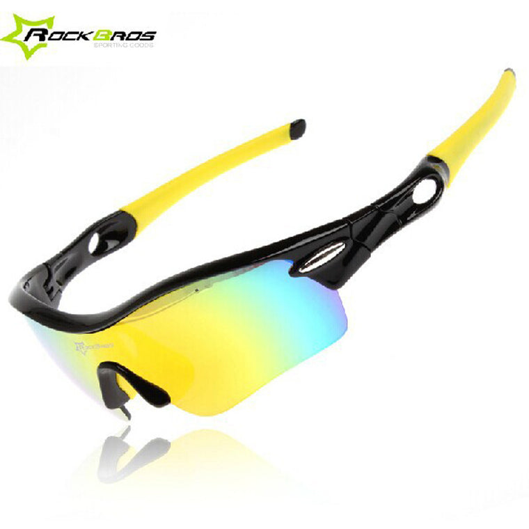ROCKBROS Polarized Cycling Glasses Sports Mens TR90 Goggles Eyewear 5 Lens, 3 Color