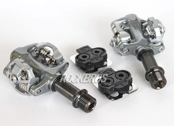 EXUSTAR Lightweight E-PM215Ti Clipless Pedals Cleat E-C01,Magnesium Body,Titanium Ti Axle Spindle