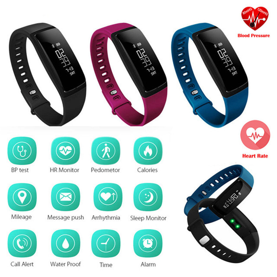 Smart Wristband V07 Blood Pressure Watch for Heart Rate Monitoring c/w Bluetooth