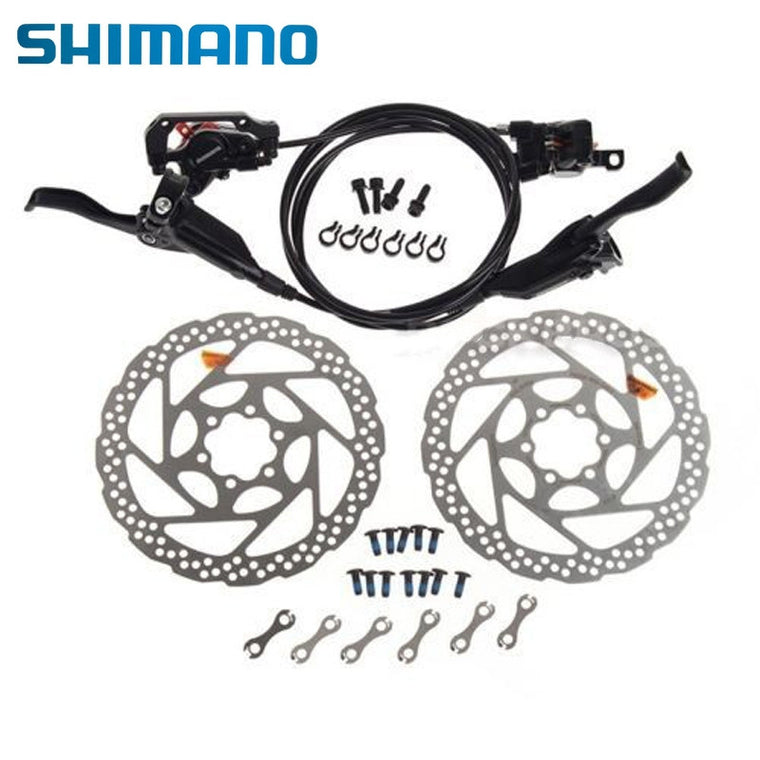 Shimano Hydraulic Brake Sets Front Rear BR-M446 BL-M445 White RT56 160mm Rotor 2 Colors