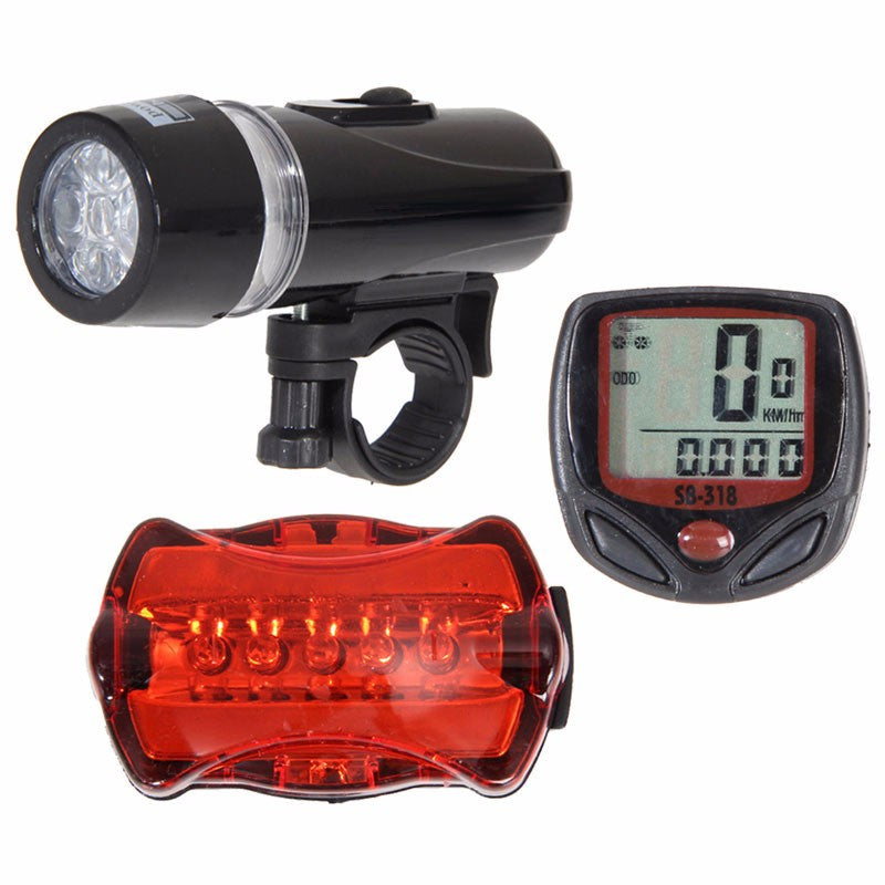 Speedometer and 5 LED Mountain Bike Cycling Head and Rear Lamp Light Set