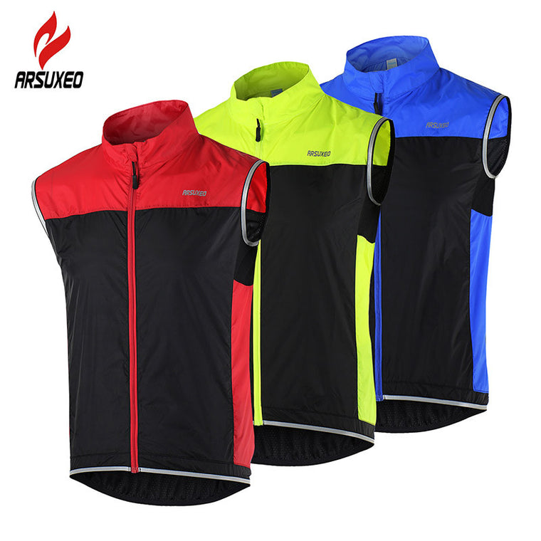 ARSUXEO Cycling Vest Windproof Waterproof Bicycle breathable  Reflective Jacket Sleeveless 15V1